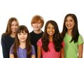 Diverse group of boys and girls kids smiling on white background Stock Photos