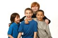 Diverse group of boys happy on white background Stock Photography