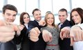 Diverse group of executives all pointing at you happy Royalty Free Stock Images