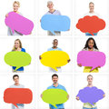 Diverse group of people holding colorful speech bubble Royalty Free Stock Photography