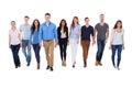 Diverse Group Of People Walkin...