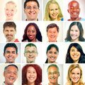 Diverse of human faces in a row isolated on white Stock Photo