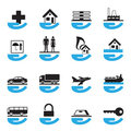 Diverse insurance icons set Royalty Free Stock Image