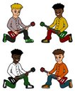Diverse kid guitarists collection Royalty Free Stock Photography