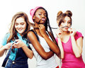 Diverse multi nation girls group, teenage friends company cheerful having fun, happy smiling, cute posing isolated on