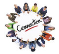 Diverse People in a Circle with Connection Concept Royalty Free Stock Photo