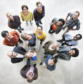 Diverse people friendship togetherness happiness aerial view con concept Stock Photography
