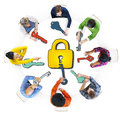 Diverse People with Lock and Keys Symbols Royalty Free Stock Photo