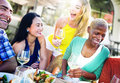 Diverse People Luncheon Outdoors Food Concept Royalty Free Stock Photo