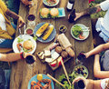 Diverse people luncheon outdoors food concept Royalty Free Stock Image