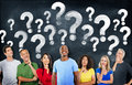 Diverse People Thinking and Question Marks Royalty Free Stock Photo