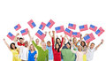 Diverse people united as one for america from different countries Royalty Free Stock Photo