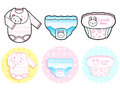 Diverse styles of diape and panties sets baby and children goo goods vector icon series Royalty Free Stock Photo