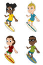 Diverse surfers cartoon collection of multiracial kids surfing isolated on a white background Royalty Free Stock Photos