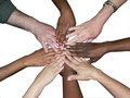 Diverse team stacked hands Royalty Free Stock Images