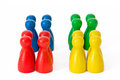 Diverse teams ii groups of game figurines symbolizing different Royalty Free Stock Image