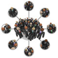 Diverse workforce of connected professional people in suits many different races business by links a communication networking grid Royalty Free Stock Photos