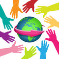 Diverse world illustration of colorful hands around the earth on a white background Stock Images