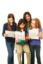 Diverse young girls reading scripts and having fun Stock Images
