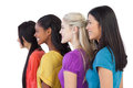 Diverse young women looking in the same direction on white background Royalty Free Stock Photo