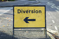 Diversion sign with arrow pointing left Stock Images