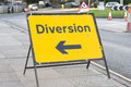 Diversion yellow sign in a uk city street Stock Photography