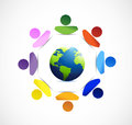 Diversity around the globe illustration design over a white background Royalty Free Stock Photos