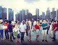 Rozmanitost společenství obchod lidé panoráma města