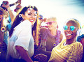 Diversity Dancing Beach Party Celebration Concept Royalty Free Stock Photo