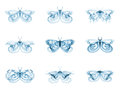 Diversity of fractal butterflies series interplay isolated on the subject science creativity and design Royalty Free Stock Photos