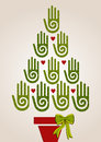 Diversity green hands in Christmas Tree Royalty Free Stock Photo