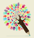 Diversity hand concept pencil tree people vector illustration layered for easy manipulation and custom coloring Royalty Free Stock Images