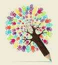 Diversity hand concept pencil tree