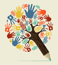 Diversity hand concept pencil tree people vector illustration layered for easy manipulation and custom coloring Stock Image