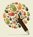 Diversity hand concept pencil tree people vector illustration layered for easy manipulation and custom coloring Stock Images