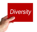 Diversity hand holding a red card with text on white background Royalty Free Stock Image