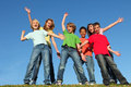 Diversity kids group hands raised Royalty Free Stock Photo