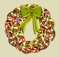 Diversity leaves Christmas wreath Royalty Free Stock Photo