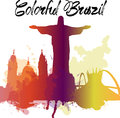Diversity monuments of Brazil, famous skyline colors transparency. EPS10 vector organized in layers for easy editing. Royalty Free Stock Photo