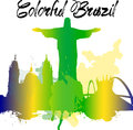 Diversity monuments of Brazil, famous skyline colors transparency.  vector organized in layers for easy editing. Royalty Free Stock Photo