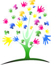 Diversity multi-ethnic hand tree over stripe pattern background Royalty Free Stock Photo