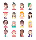 Diversity people avatar flat icon set, vector women characters