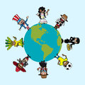 Diversity people cartoons over world map planet earth cartoon american continent vector illustration layered for easy editing Royalty Free Stock Photos