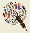 Diversity people concept pencil tree social media networks pixel vector illustration layered for easy manipulation and custom Royalty Free Stock Photography