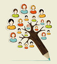 Diversity people concept pencil tree social media networks sticker vector illustration layered for easy manipulation and custom Royalty Free Stock Image
