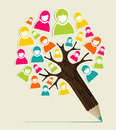 Diversity people concept pencil tree social media profile vector illustration layered for easy manipulation and custom coloring Stock Image