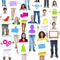 Diversity people holding technology communication signs concept Royalty Free Stock Photos