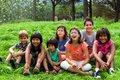 Diversity portrait of kids outdoors outdoor group new generation Royalty Free Stock Photo