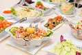 Diversity of salads on the table colorful fresh Stock Images