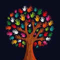 Diversity tree hands colorful illustration vector illustration layered for easy manipulation and custom coloring Stock Photo